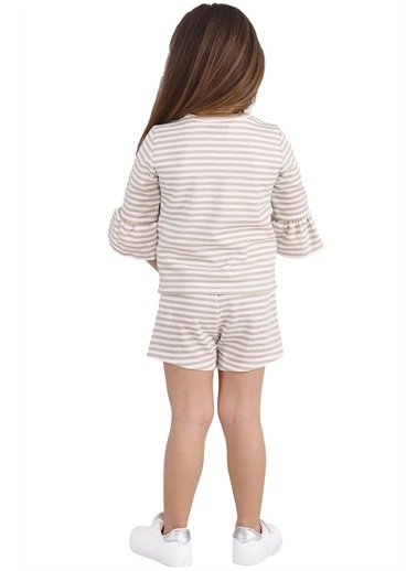 Silversun Kids Kız Çocuk Çizgili Kolları Fırfırlı Fiyonk Detaylı Sweatshirt Jm 215443 Sarı